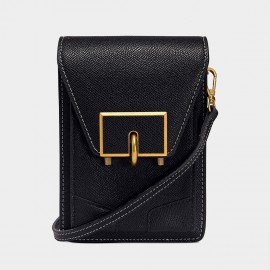 Cilela Midnight Black Mini Turnlock Crossbody Bag (5002)