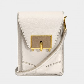 Cilela White Romance Mini Turnlock Crossbody Bag (5002)
