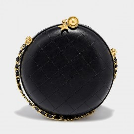 Cilela Quilted Leather Black & Gold Circle Shoulder Bag (CK-002025)