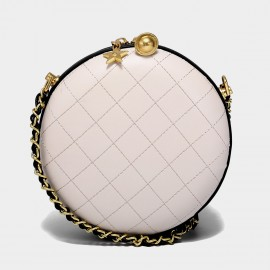 Cilela Quilted Leather Snow White Circle Shoulder Bag (CK-002025)