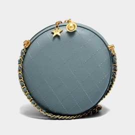 Cilela Quilted Leather Pale Blue Circle Shoulder Bag (CK-002025)