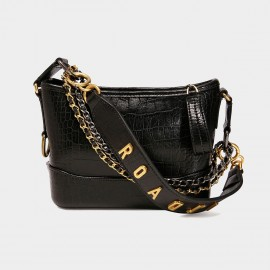 Cilela Triple Strap Black Alligator Shoulder Bag (CK-002050)