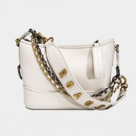 Cilela Triple Strap White Alligator Shoulder Bag (CK-002050)