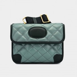 Cilela Flap Closure Quilted Green Leather Shoulder Bag (CK-003002)