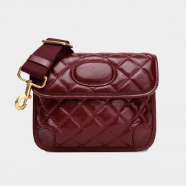 Cilela Quilted Deep Red Leather Shoulder Bag (CK-003002D)