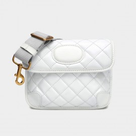 Cilela Quilted Winter White Leather Shoulder Bag (CK-003002D)