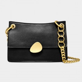 Cilela Gold Chains Structured Black Shoulder Bag (CK-00520L)