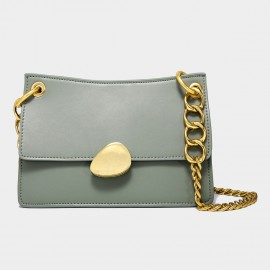 Cilela Gold Chains Structured Green Shoulder Bag (CK-00520L)