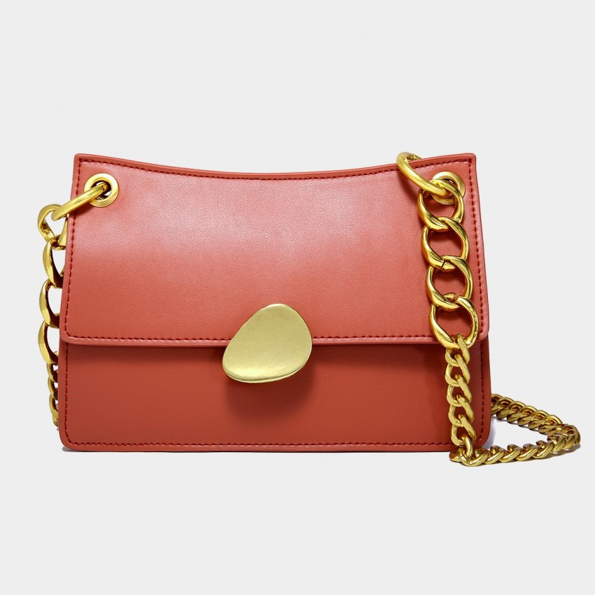 Cilela Gold Chains Structured Red Shoulder Bag (CK-00520L)