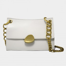 Cilela Gold Chains Structured White Shoulder Bag (CK-00520L)