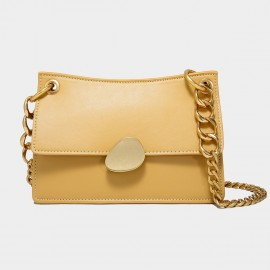 Cilela Gold Chains Structured Yellow Shoulder Bag (CK-00520L)