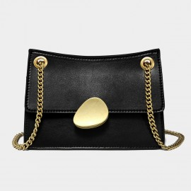 Cilela Gold Chain Handle Black Leather Shoulder Bag (CK-00520S)