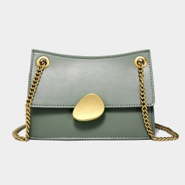 Cilela Gold Chain Handle Green Leather Shoulder Bag (CK-00520S)