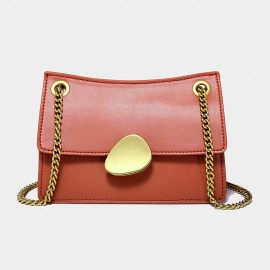Cilela Gold Chain Handle Red Leather Shoulder Bag (CK-00520S)