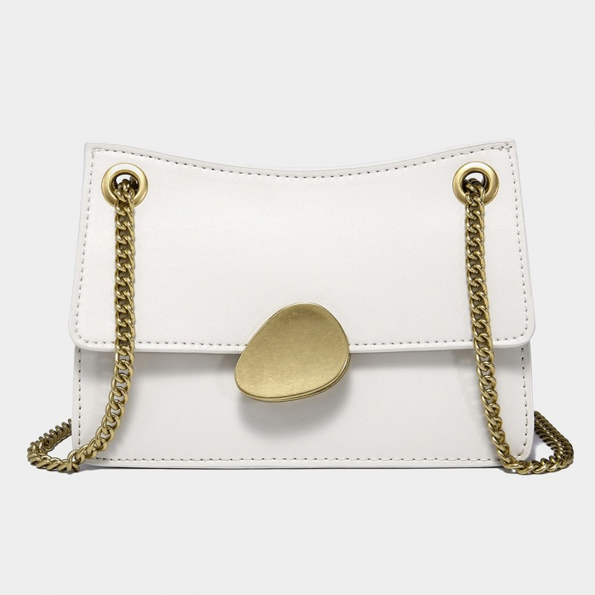 Cilela Gold Chain Handle White Leather Shoulder Bag (CK-00520S)