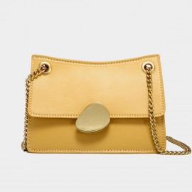 Cilela Gold Chain Handle Yellow Leather Shoulder Bag (CK-00520S)