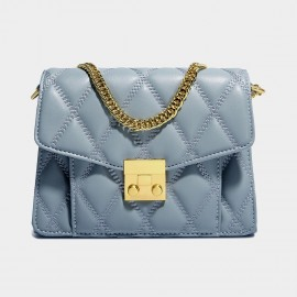 Cilela Timeless Blue Quilted Leather Shoulder Bag (EY031500)