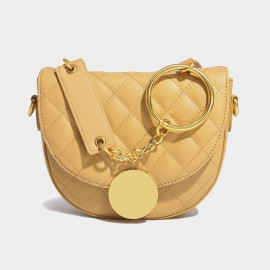 Cilela Curvy Quilted Yellow Leather Shoulder Bag (EY31479)