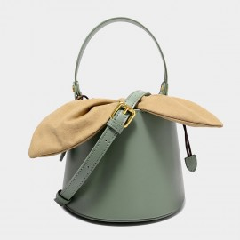 Cilela Top Handle Green Leather Bucket Bag (EY31491)