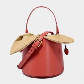Cilela Top Handle Red Leather Bucket Bag (EY31491)