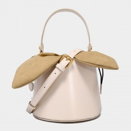 Cilela Top Handle White Leather Bucket Bag (EY31491)
