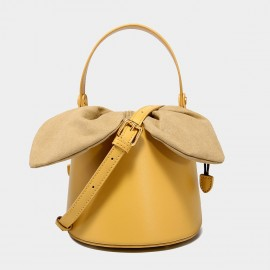 Cilela Top Handle Yellow Leather Bucket Bag (EY31491)