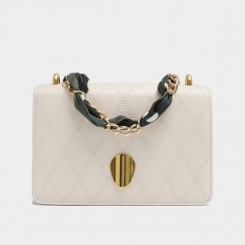 Cilela Gossip Girl Quilted White Leather Shoudler Bag (EY31538)