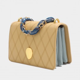 Cilela Gossip Girl Quilted Yellow Leather Shoudler Bag (EY31538)