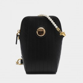 Cilela Gossip Girl Pearl Strap Quilted Black Leather Shoudler Bag (EY31548)