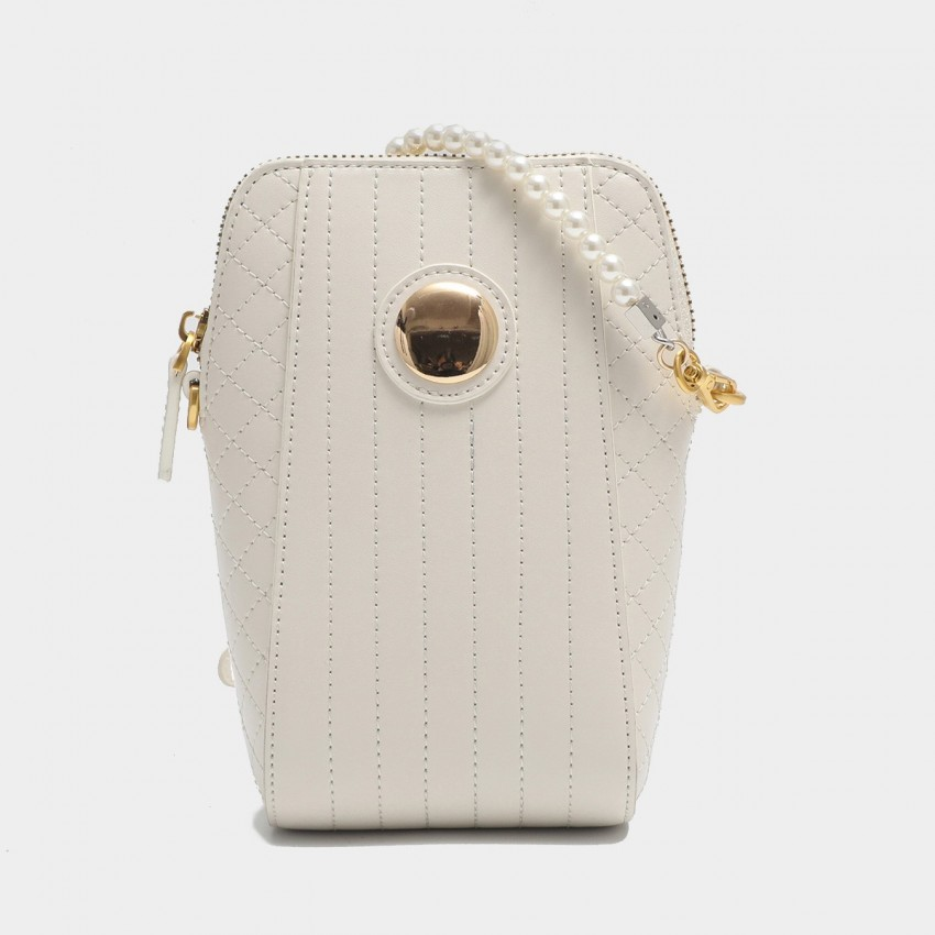 Cilela Gossip Girl Pearl Strap Quilted White Leather Shoudler Bag (EY31548)