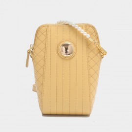 Cilela Gossip Girl Pearl Strap Quilted Yellow Leather Shoudler Bag (EY31548)