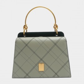 Cilela Structured Criss Cross Green Top Handle Bag (EY31549)