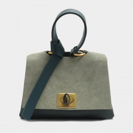 Cilela Loop Handle Green Suede Satchel Bag (EY31554)