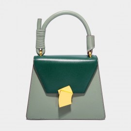 Cilela Smooth Green Leather Envelope Top Handle Bag (SF08016L)