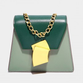 Cilela Structured Envelope Foldover Green Top Handle Bag (SF08016S)