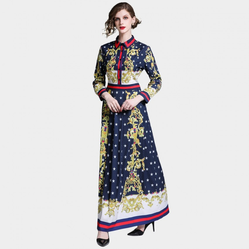 Buy DZA Scarf Print Long Navy Shirt Dress online, shop DZA with free shipping