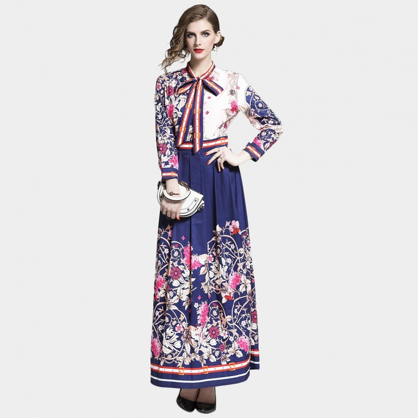 Buy DZA Spring Blossom Pussy-Bow Navy Maxi Shirt Dress online, shop DZA with free shipping