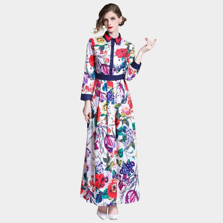 DZA Vibrant Watercolour Floral Print Maxi Shirt Dress (7227)