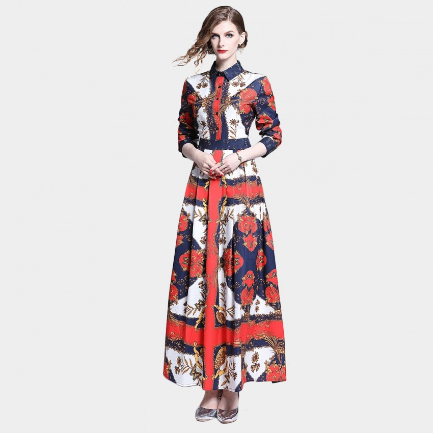 Buy DZA Le Papillon Red Maxi Shirt Dress online, shop DZA with free shipping