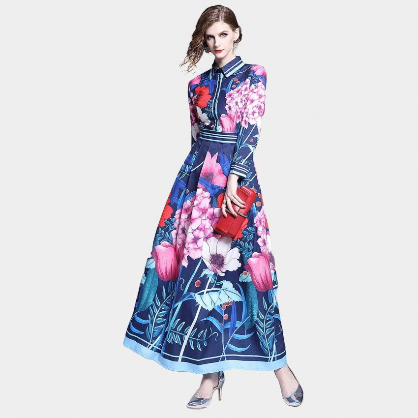 Buy DZA Floral Bouquet Navy Maxi Shirt Dress online, shop DZA with free shipping