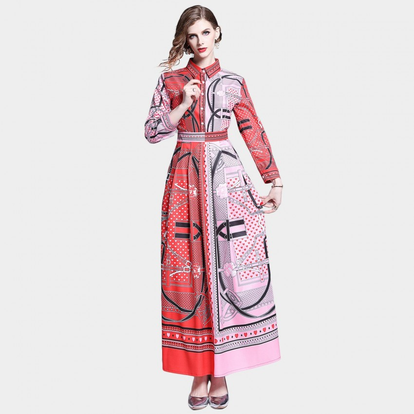Buy DZA Opposites Attract Red Scarf Print Maxi Shirt Dress online, shop DZA with free shipping