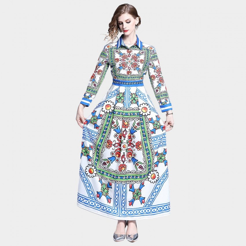 Buy DZA Blue Statement Scarf Print Maxi Shirt Dress online, shop DZA with free shipping