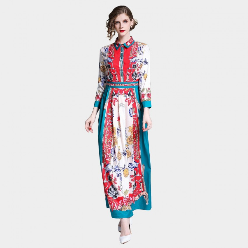 Buy DZA Vintage Red Chain Scarf Print Maxi Shirt Dress online, shop DZA with free shipping