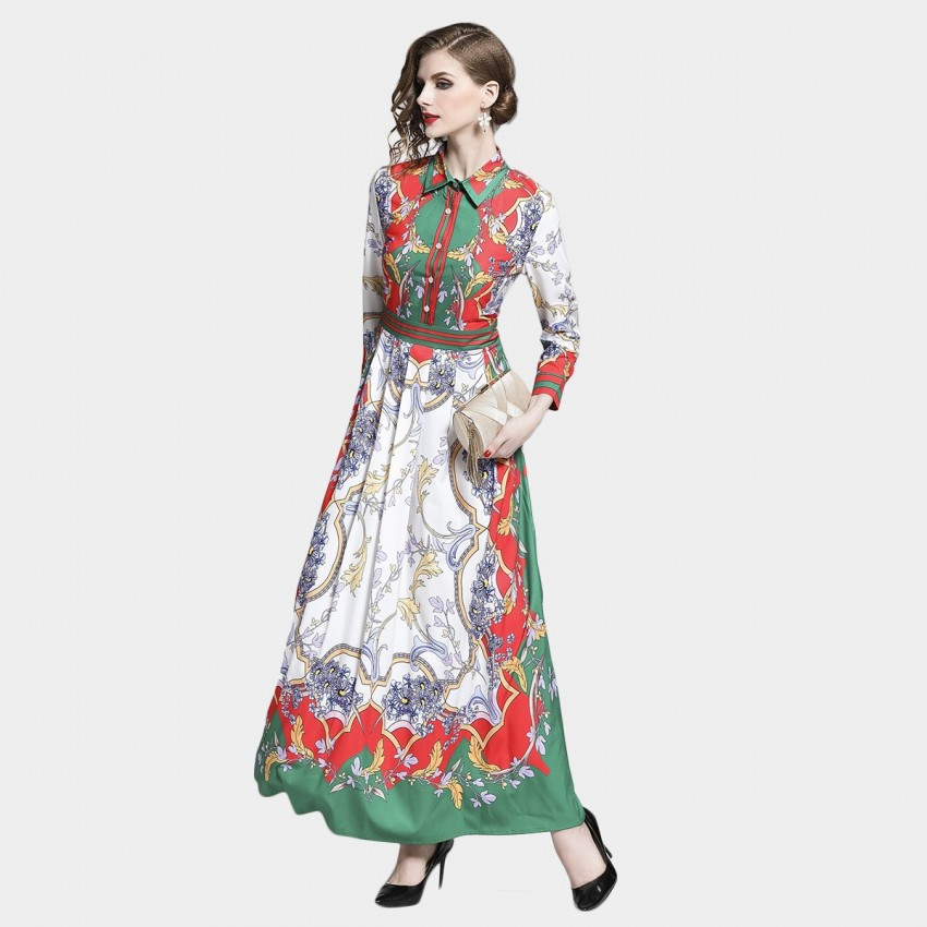 Buy DZA Festive Green Floral Scarf Print Maxi Shirt Dress online, shop DZA with free shipping