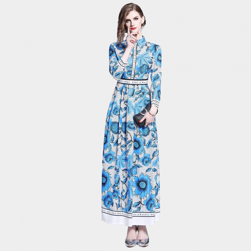 DZA Blue Sunflower Print Maxi Shirt Dress (7622)