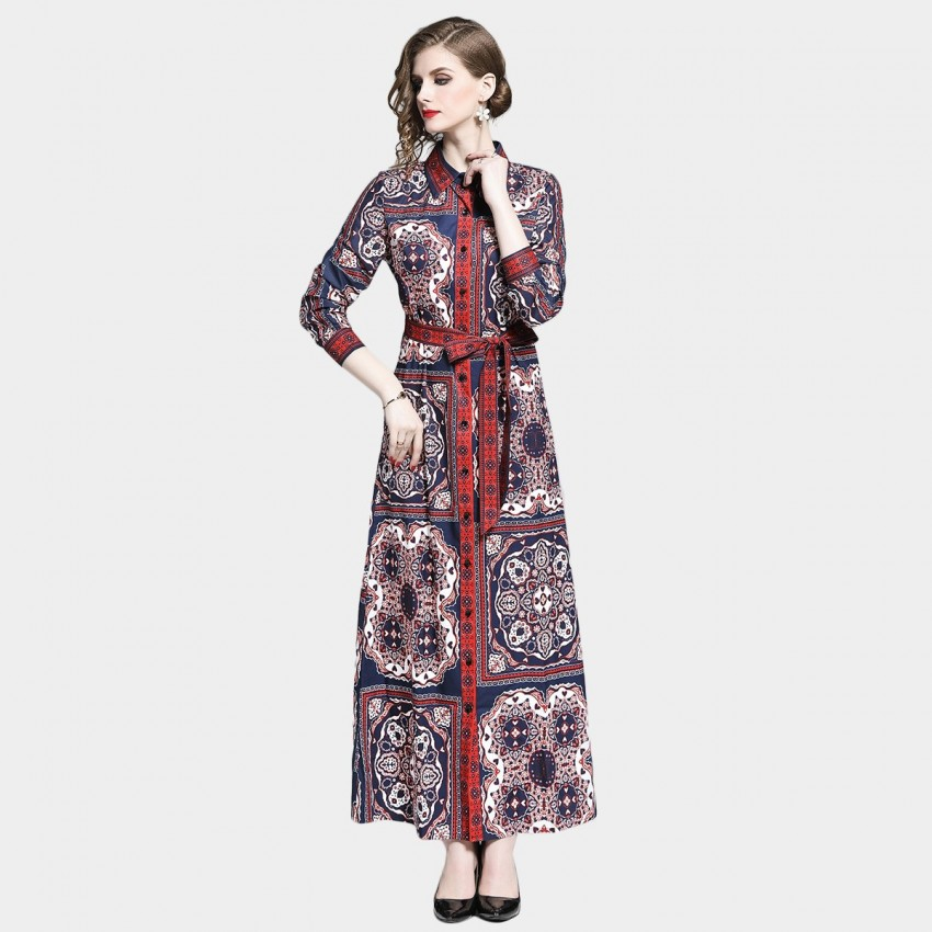 Buy DZA Red & Navy Scarf Print Tie Waist Shirt Dress online, shop DZA with free shipping