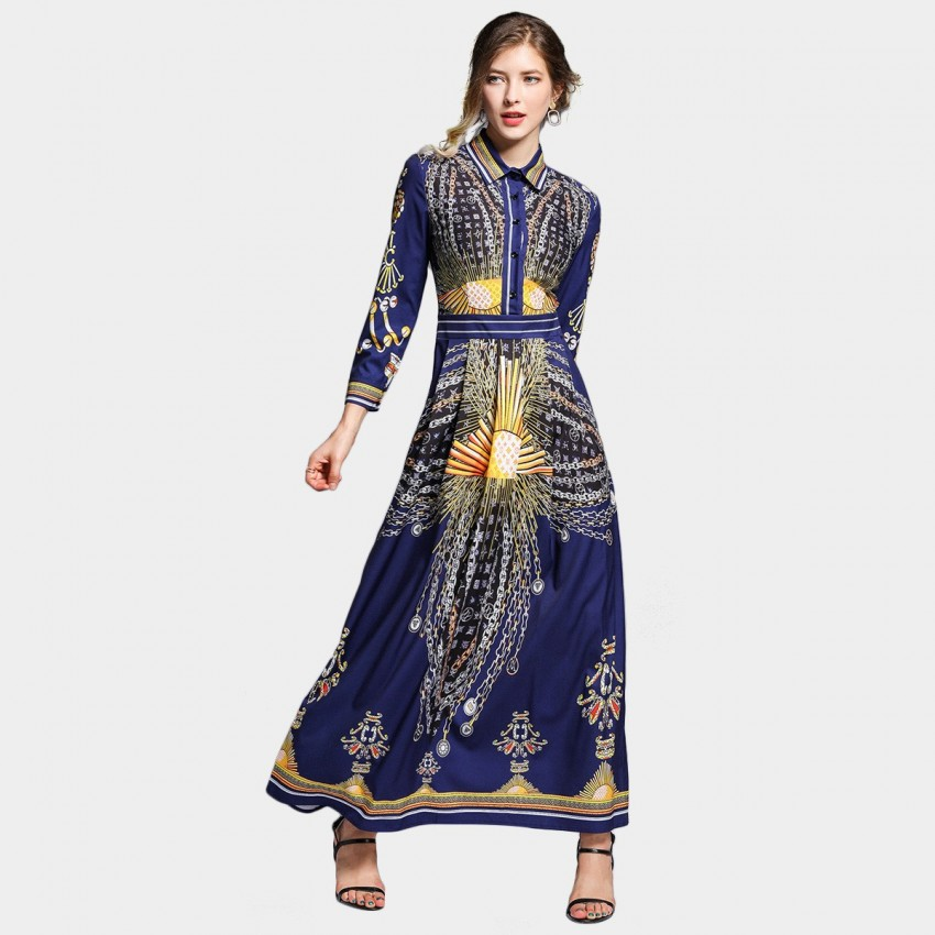 Buy DZA Golden Chains Navy Maxi Dress online, shop DZA with free shipping