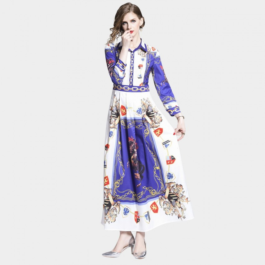 Buy DZA Coat of Arms Blue Maxi Shirt Dress online, shop DZA with free shipping