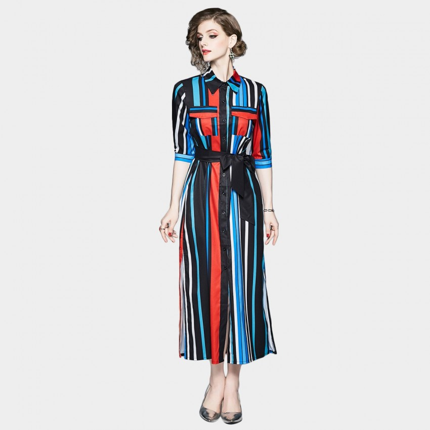 Buy DZA Stripey Blue Long Shirt Dress online, shop DZA with free shipping
