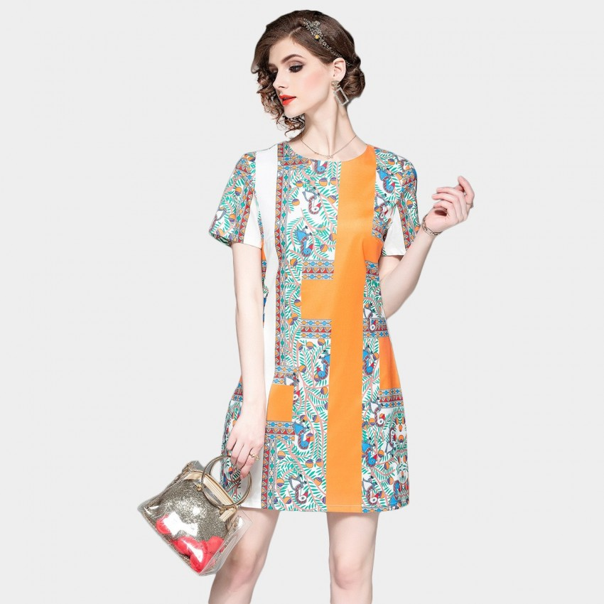 DZA In the Garden Print Orange Tee Dress (58108)